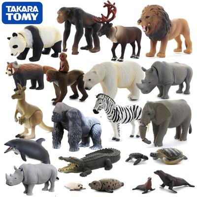 日本tomy正版可动仿真动物模型野生动物老虎狮子大象熊猫儿童玩具