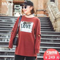 MsShe加大码女装2018新款秋装趣味亮片拼接钉珠卫衣M1831067