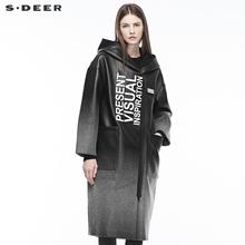 sdeer圣迪奥女装皮革质感撞色刺绣字母贴袋连帽长外套S18481805图片