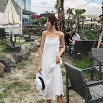 2018夏装女新款吊带连衣裙白色性感露背沙滩裙子雪纺海边度假长裙