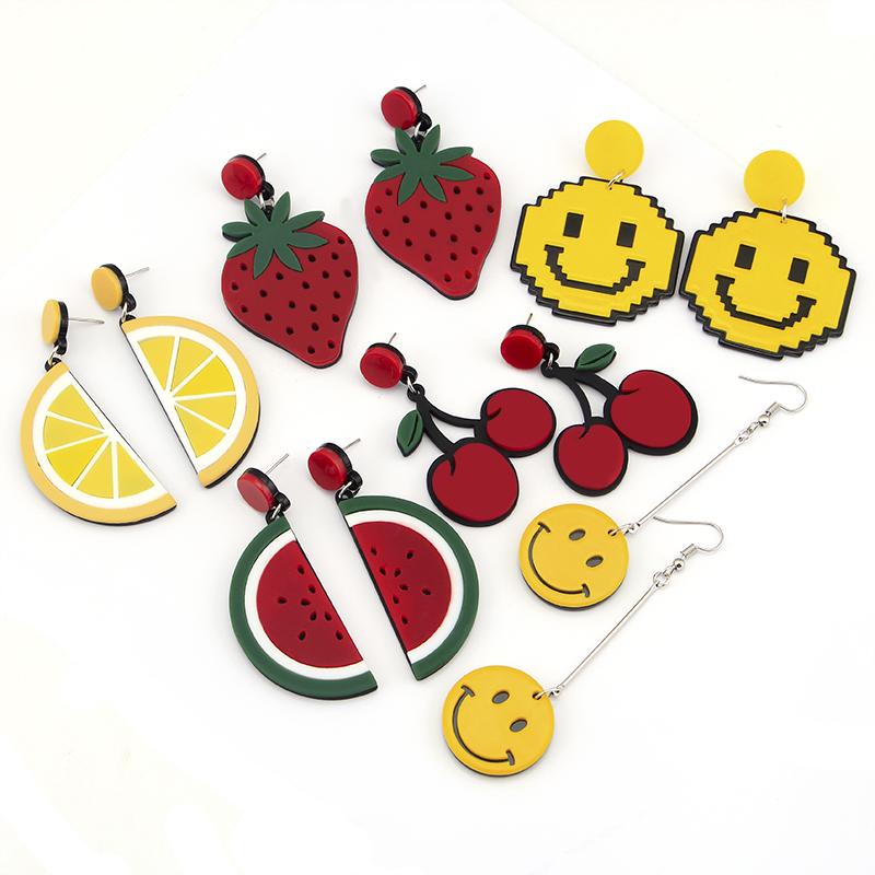 安清欢同款耳环水果草莓耳钉花朵桃心字母耳坠樱桃耳钉女耳环饰品