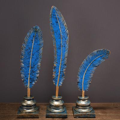 居家欧式创意工艺品羽形叶子摆件蓝色3件套玄关书房家居装饰摆设