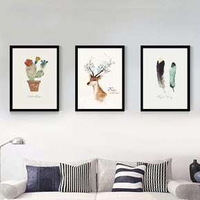 北欧风格装饰画现代简约客厅餐厅卧室小挂画床头组合挂画书房壁画