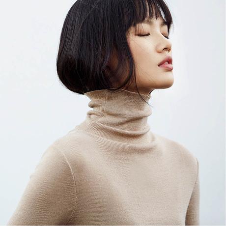 Amii极简ins火港味复古高领毛衣女2017冬套头修身红色针织打底衫