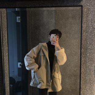 夹克 连帽宽松纯色男士 韩版 春季ifashion风衣外套中长款 小明bene