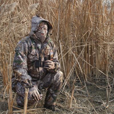 冬季户外钓鱼狩猎伪装加绒保暖防雨水枯松树叶仿生迷彩服套装男