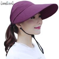 帽子女夏天户外遮阳帽骑车运动帽防晒帽可折叠空顶太阳帽