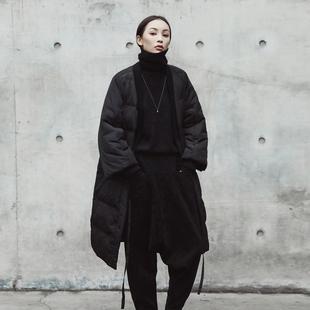 SIMPLE BLACK 暗黑风冬季新款V领绑带宽松棉衣外套棉服