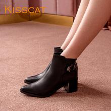 接吻猫秋冬新款专柜同款英伦牛皮尖头搭扣粗跟短靴女KA07528-11图片