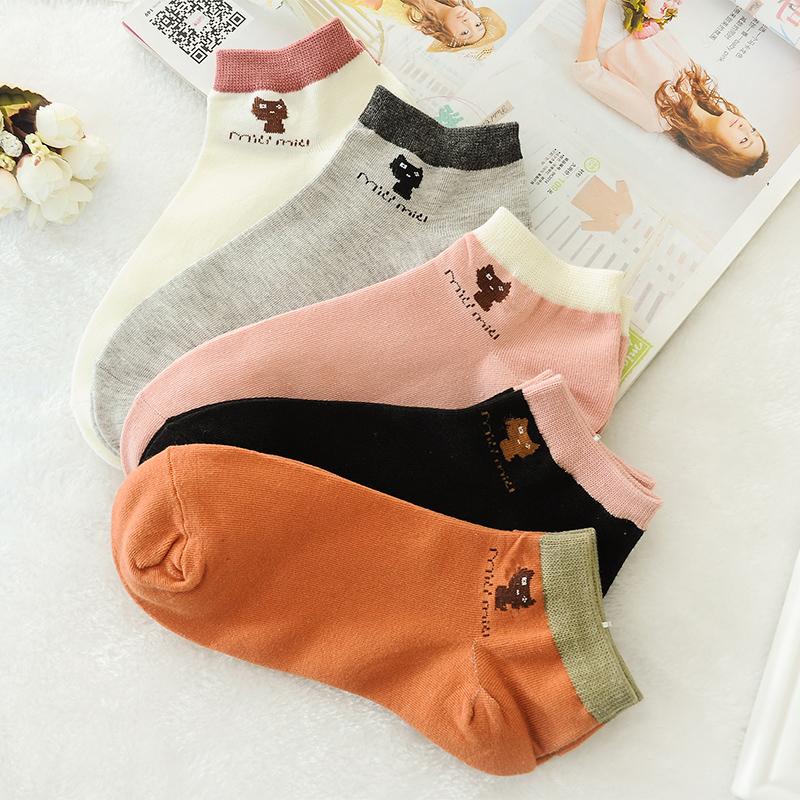 纯棉糖果色女袜猫咪短袜韩国可爱袜子女船袜浅口袜子女防臭排汗