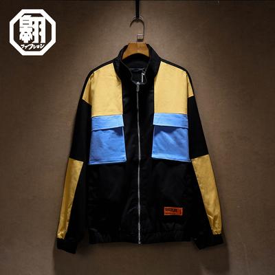 日系复古男装秋季潮男个性拼色贴布装饰外套青年宽松工装夹克上衣
