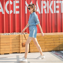 Jeans pants, women's shorts, wide legs, high waist dress overalls, slim and loose pants, thin style, Summer 2019