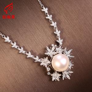 铂瑞莱18K金镶嵌加工定制豪华款套装个性设计精工镶嵌白珍珠项链
