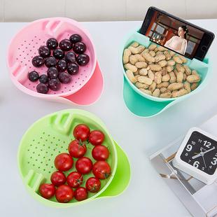 升级款加厚懒人果盘 家用创意水果盘 双层沥水盘嗑瓜子神器坚果盘