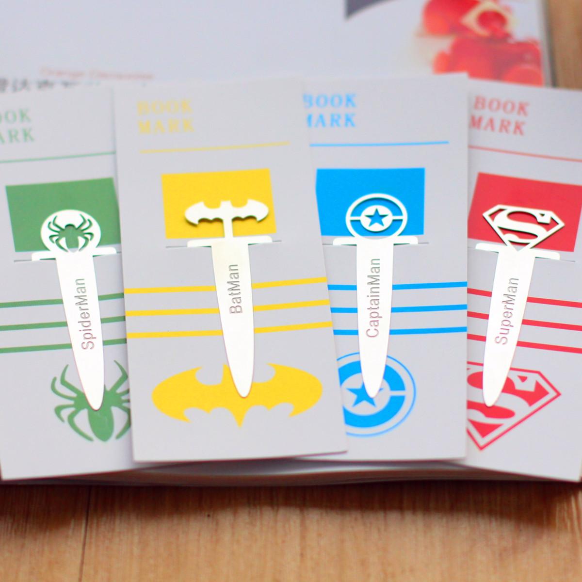 上尚创意韩式动漫《超级英雄连盟》超人款金属礼品书签 接受定制