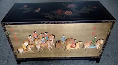 扬州漆器*家具*橱柜*彩绘铜箔底虢国夫人游春图双门柜 可定制