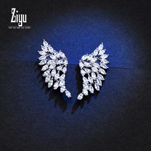 紫遇925银针耳环日韩国气质优雅时尚无耳洞耳夹百搭饰品 耳钉女