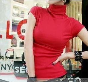 包邮夏季新款纯棉女士韩版高领大码短袖T恤 纯色百搭打底衫