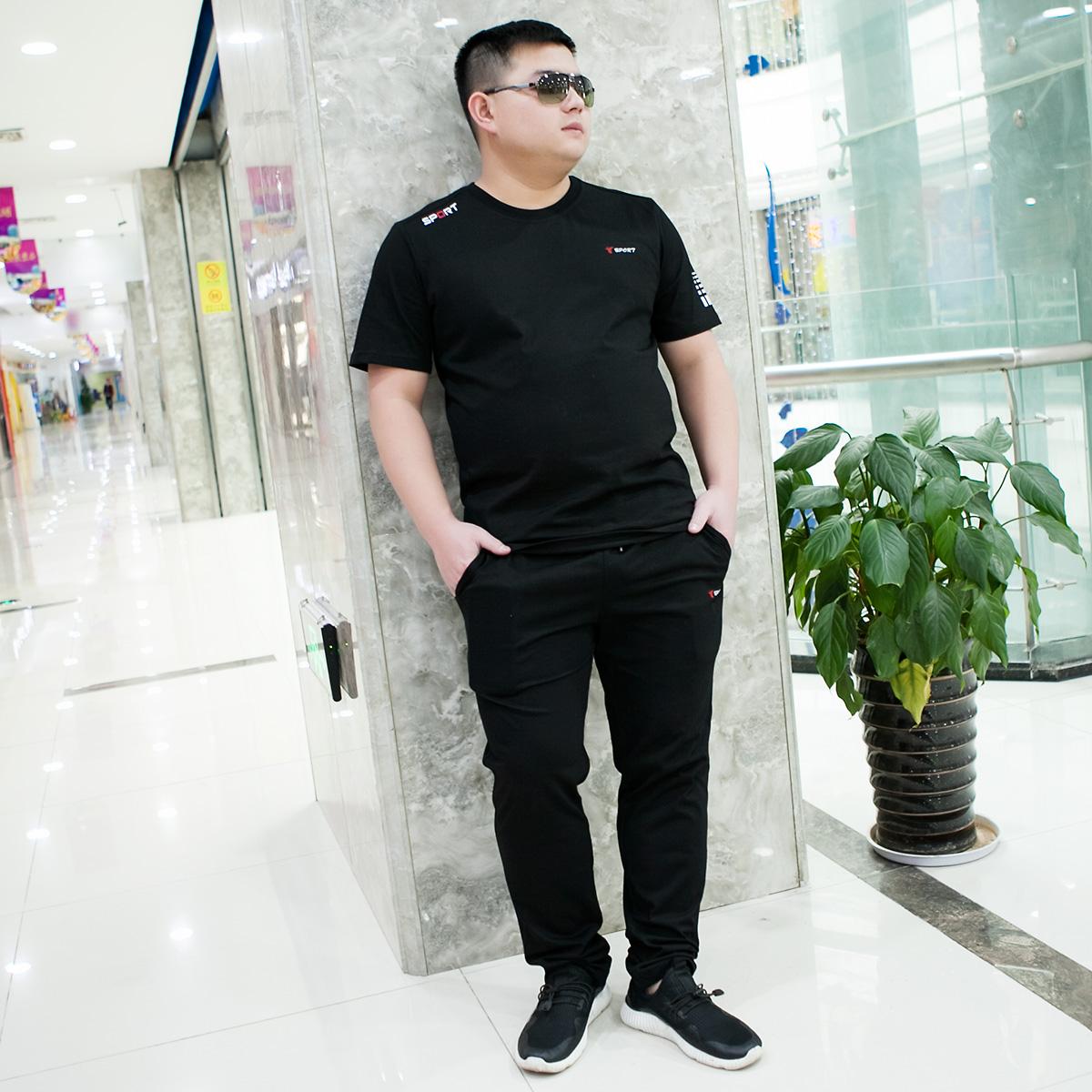 夏季半袖休闲运动套装男宽松胖子加肥大码胖子t恤短袖长裤两件套