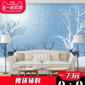臻心简约北欧电视背景墙卧室墙纸壁纸雪地树林小鹿背景墙壁画定制