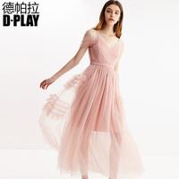 DPLAY德帕拉2019春新品欧美V领网纱收腰大摆吊带礼服裙清新仙女