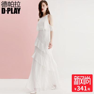 DPLAY德帕拉2018夏新品欧美白色露肩多层荷叶边连衣裙气质礼服裙