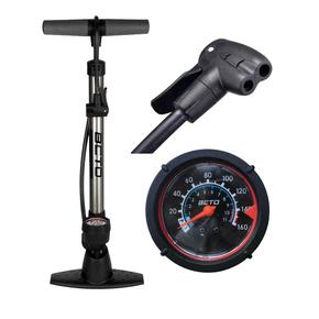 BETO新款正品自行车落地式立式打气筒家用高压打气筒带气压表069