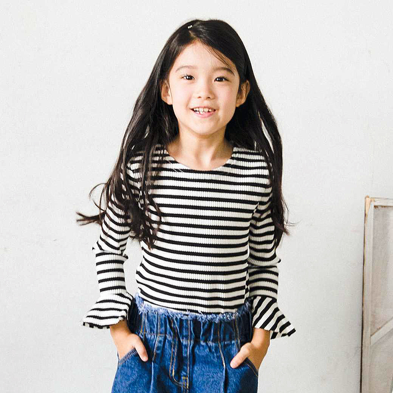 春秋装韩国女童黑白条纹T恤长袖海魂衫韩版儿童百搭打底衫上衣潮3元优惠券
