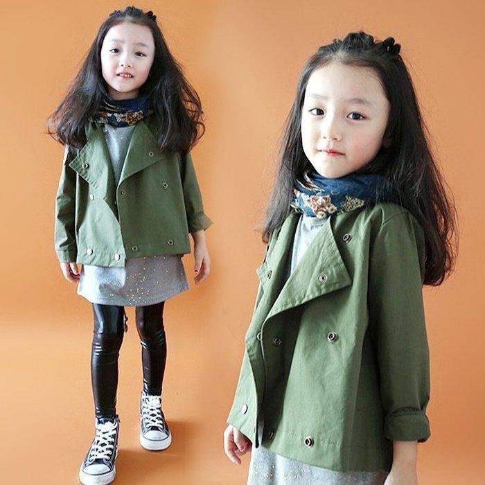 秋装新款韩国女童风衣军绿色工装儿童韩版中大童短款翻领休闲外套3元优惠券