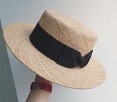 显脸小 夏日阳光 手工编织宝草帽子平顶宽檐百搭草帽沙滩遮阳帽