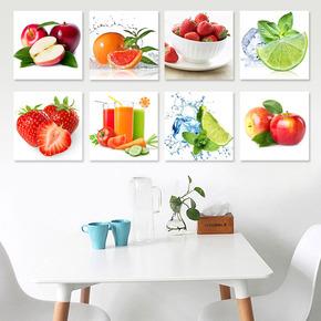 餐厅装饰画田园现代简约小清新水果组合单幅三联厨房壁画饭厅挂画