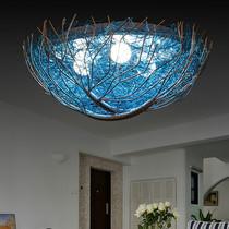 蓝色鸟巢吸顶灯儿童房卧室灯地中海风格灯饰灯具温馨浪漫LED创意