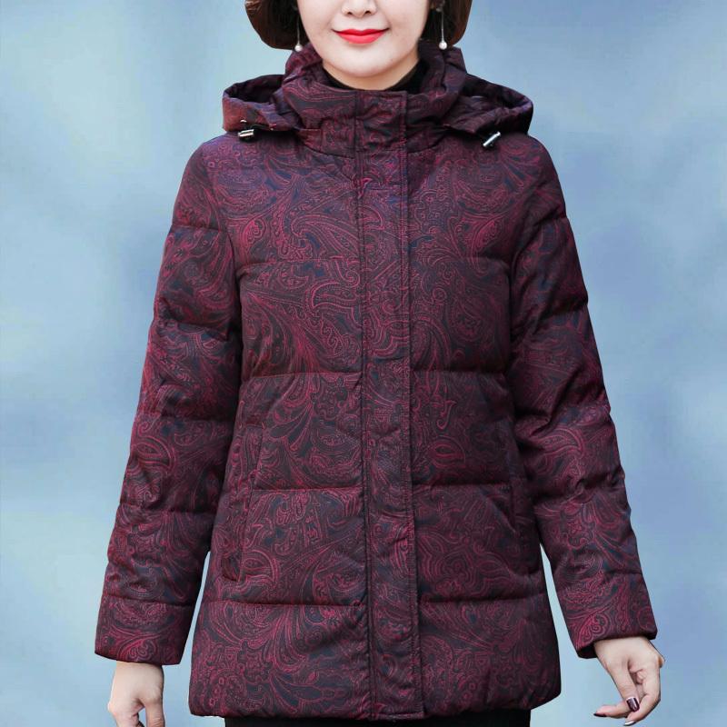 外套60岁70老年人冬季80奶奶装 加厚50妈妈冬装 中老年羽绒服女短款