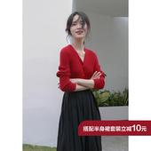 通勤短款 一排扣V领小毛衣女 针织小开衫 2019春季长袖 1313红色修身