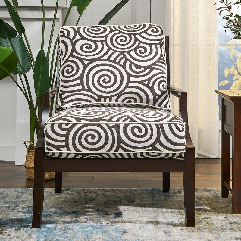 德家家具Charlo 夏洛沙发椅美式乡村实木布艺休闲椅布椅带扶手靠