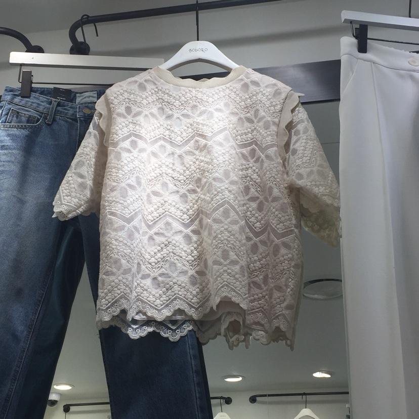 东大门代购韩国女装2018夏季新款纯色圆领蕾丝上衣