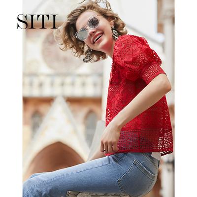 红色蕾丝衫短袖超仙镂空上衣显瘦灯笼袖2018新款夏女甜美娃娃衫
