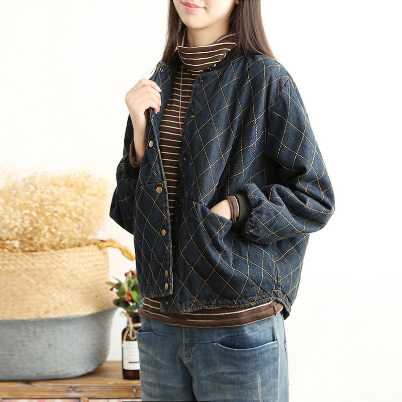copper buckle remember autumn and winter warm thick jacket female loose wild denim jacket Korean cotton coat