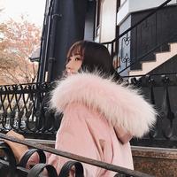 2017冬季新款韩版加厚超大毛领粉色丝绒羽绒服女中长款宽松外套潮