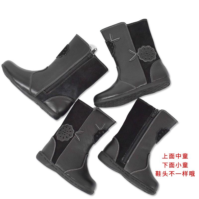意大利 Paobinno 17年秋冬新款女童鞋女孩宝宝羊皮真皮中筒靴子