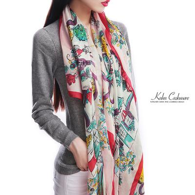 KAKA新品  欧洲客商玛姬花苑系列真丝洋纺遮阳丝巾围巾L332B33