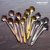 不锈钢樱花咖啡搅拌小勺子 日式创意玫瑰桔梗波斯菊雏菊搅拌棒勺