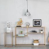北欧简约现代玄关架铁艺多层置物架收纳架门厅展示架条案书架窄桌