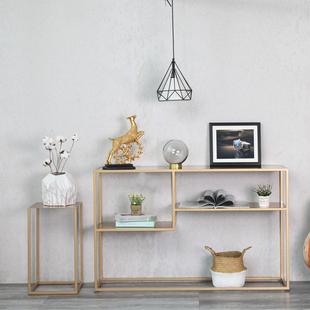 北欧简约现代玄关架铁艺多层置物架收纳架展示架条案书架靠墙窄桌