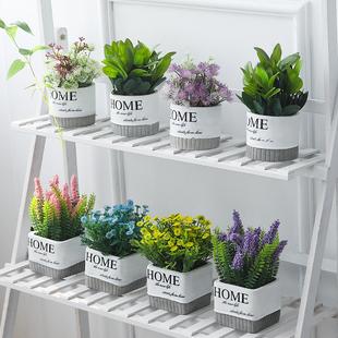 北欧客厅仿真绿色植物绿植装 饰假花办公桌ins小盆栽摆件创意家居