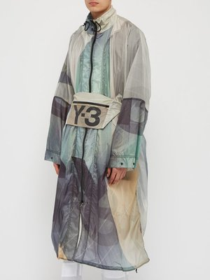 正品 Y-3 Technical logo-print poncho jacket Y3风衣 DY72 83