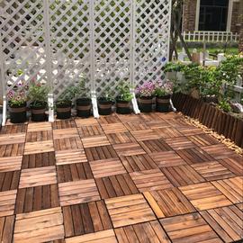 户外地板碳化防腐木室外露台塑木阳台庭院花园diy拼接实木地板图片