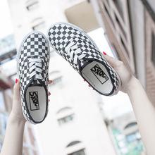 女韩版 黑白格子滑板鞋 情侣板鞋 2017秋季新款 学生平底柏俅罘布鞋图片