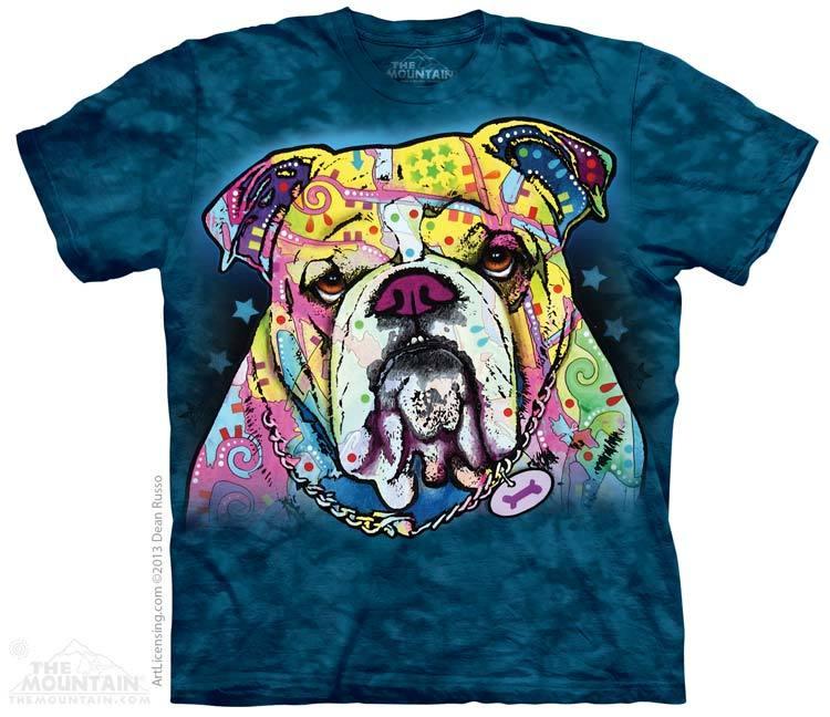 美国 themountain 蓝色创意3d动物图案街头艺术涂鸦斗牛犬纯棉t恤