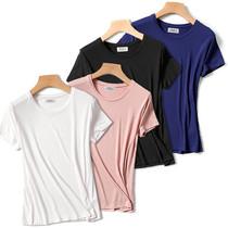 圆领短袖t恤大码女装夏装新款韩版黑色修身莫代尔低领打底衫体恤